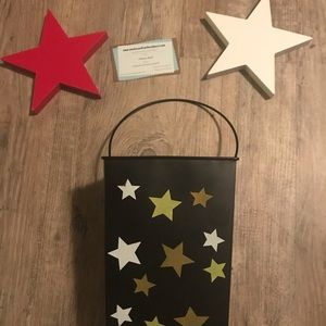 Two wood Stars and Metal Container